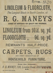 Advert for RG Maney's linoleum & floor cloth